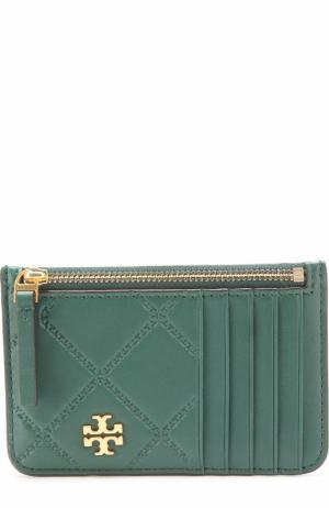Кожаный футляр для кредитных карт с логотипом бренда Tory Burch. Цвет: зеленый