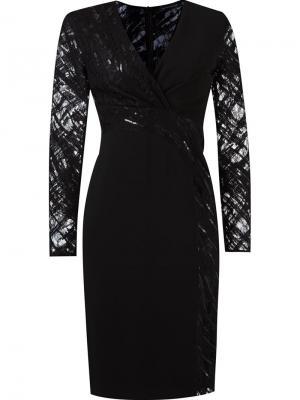 Приталенное платье с кружевной отделкой Giuliana Romanno. Цвет: чёрный