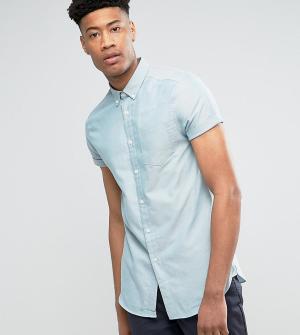 Burton Menswear Узкая оксфордская рубашка мятного цвета с короткими рукавами Me. Цвет: зеленый