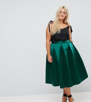 Closet London Plus Пышная сатиновая юбка миди для выпускного. Цвет: зеленый