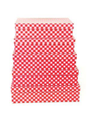 Коробка картонная,  набор из 5шт. 32х20х8 - 40х28х10 см. Красно белая клетка. VELD-CO. Цвет: красный, белый