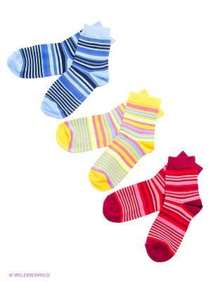 Носки детские, 3 пары БРЕСТСКИЕ. Цвет: голубой, красный, желтый