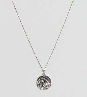ASOS Серебряное ожерелье с надписью St Christopher на подвеске. Цвет: серебряный