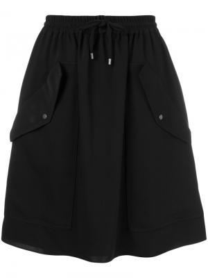 Юбка с карманами на пуговицах Kenzo. Цвет: чёрный