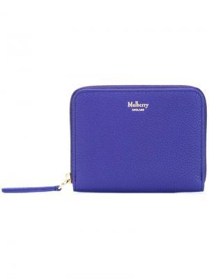 Маленький кошелек с круговой молнией Mulberry. Цвет: синий