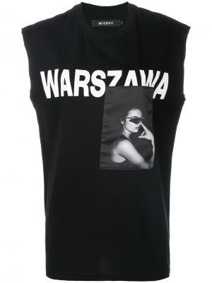 Топ без рукавов с принтом Warszawa Misbhv. Цвет: чёрный