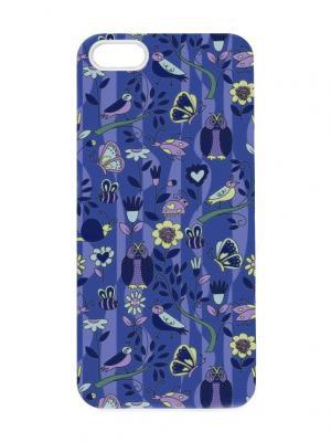 Чехол для iPhone 5/5s Синий узор с птичками Chocopony. Цвет: темно-фиолетовый, темно-синий