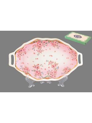 Блюдо для нарезки Сакура Elan Gallery. Цвет: белый, розовый