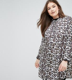 Elvi Удлиненная рубашка с леопардовым принтом. Цвет: мульти