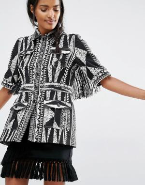 Anna Sui Жаккардовый пиджак зауженного кроя. Цвет: мульти