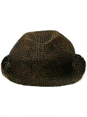 Плетеная шляпа Isabel Benenato. Цвет: чёрный