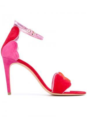 Босоножки с сердцами Jean-Michel Cazabat. Цвет: розовый и фиолетовый
