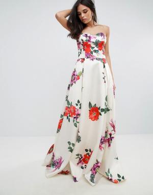 Forever Unique Платье макси для выпускного без рукавов с цветочным принтом Un. Цвет: мульти