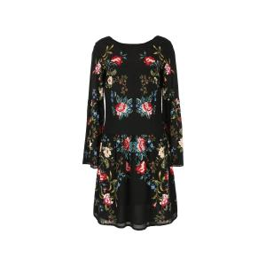 Платье короткое с цветочным рисунком и длинными рукавами RENE DERHY. Цвет: черный наб. рисунок