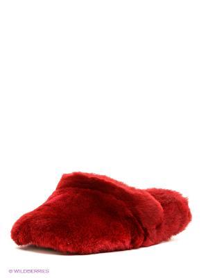 Тапочки натуральный мех Skap. Цвет: бордовый