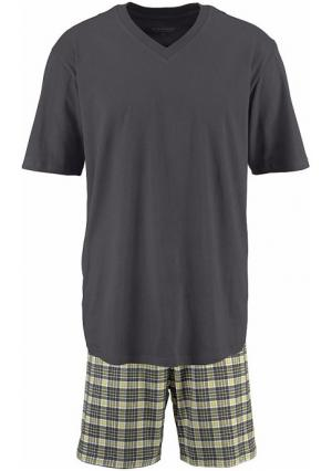Пижама с шортами Schiesser. Цвет: темно-серый