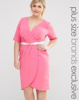 Paper Dolls Plus Платье-футляр с запахом, рукавами 1/2 и поясом. Цвет: розовый