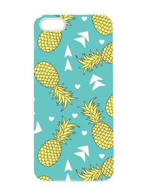 Чехол для iPhone 5/5s Ананасовый принт Арт. IP5-014 Chocopony. Цвет: бирюзовый, желтый
