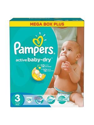 Подгузники Active Baby-Dry 5-9 кг, 3 размер, 174 шт. Pampers. Цвет: зеленый