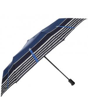 Складной зонт с куполом в полоску Doppler. Цвет: синий