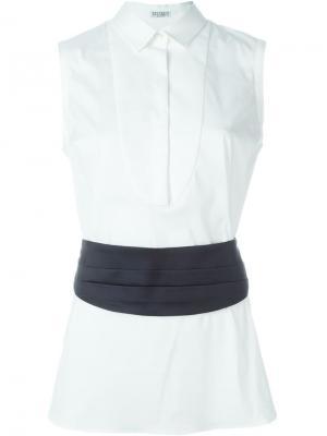 Блузка с эластичным поясом Brunello Cucinelli. Цвет: белый