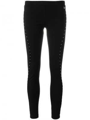 Леггинсы с декоративной строчкой Versace Jeans. Цвет: чёрный