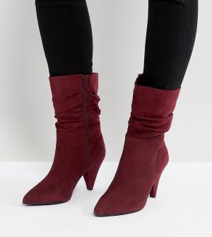 New Look Wide Fit Полусапожки на каблуке для широкой стопы с присборенным голенищем. Цвет: красный