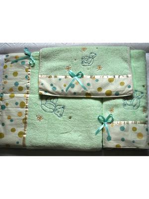 Комплект полотенец Clean, 3предмета, 40х70,50х90,70х140. La Pastel. Цвет: зеленый
