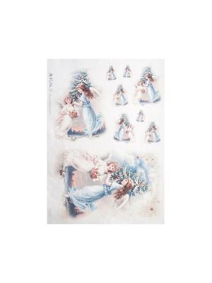Декупажная карта 32*45 ангелы-девочки Idigo. Цвет: сиреневый, прозрачный
