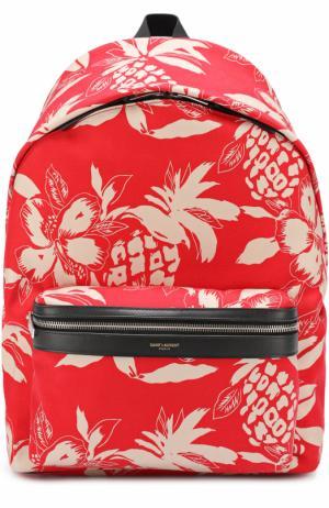 Текстильный рюкзак City с принтом Saint Laurent. Цвет: красный