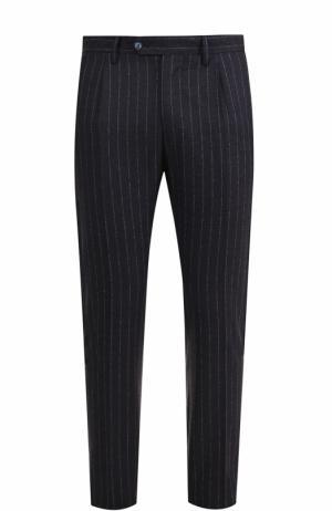 Шерстяные брюки в полоску прямого кроя Germano. Цвет: темно-синий