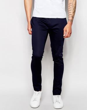 ASOS Супероблегающие брюки из хлопкового атласа. Цвет: темно-синий