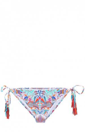 Плавки-бикини с контрастным принтом и бантами Lazul. Цвет: разноцветный