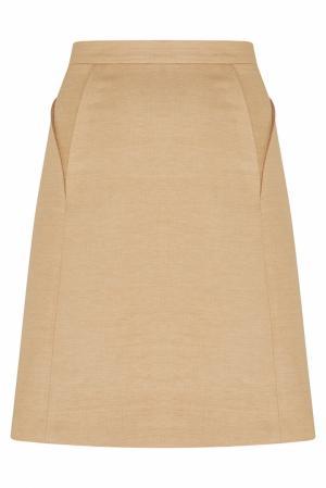 Юбка из льна и шелка NATALIA GART. Цвет: кремовый
