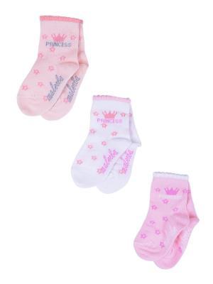 Носки Детские,комплект 3шт Malerba. Цвет: коралловый, белый, розовый