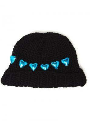Knitted Heart Beanie Hat Wool And The Gang. Цвет: чёрный