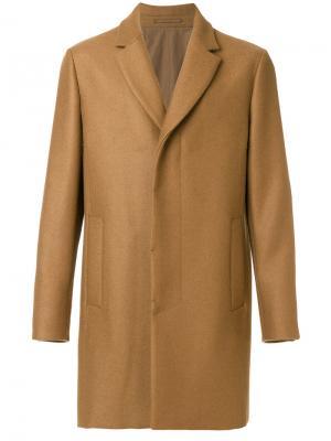 Однобортное пальто Berluti. Цвет: коричневый
