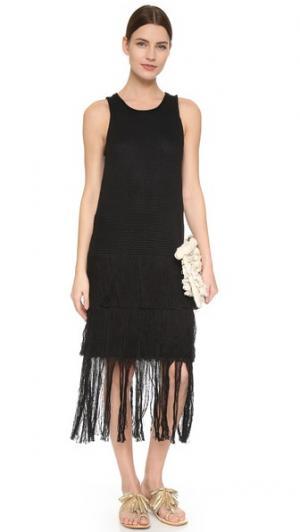 Вязаное платье с ажурной отделкой Tess Giberson. Цвет: голубой