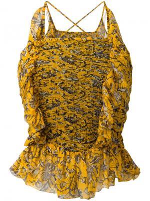Топ с рюшами Isabel Marant Étoile. Цвет: жёлтый и оранжевый