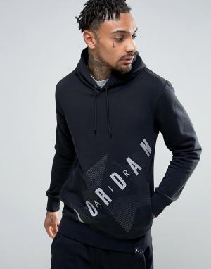 Jordan Худи без застежки с большим логотипом Nike AJ6 833922-010. Цвет: черный