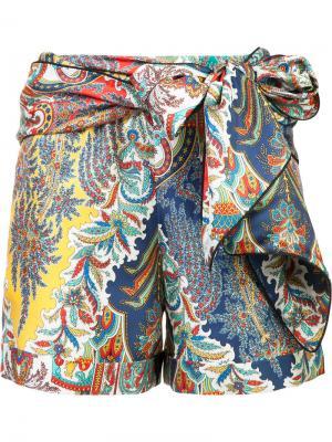 Шорты с завязками на поясе Oscar de la Renta. Цвет: многоцветный