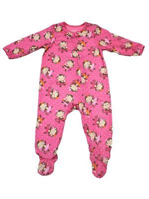 Комбинезон для сна Обезьянки-сластены Little Me. Цвет: розовый