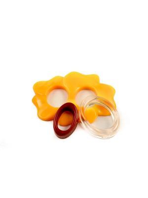Пряжка Волшебная пуговица Лилия и кольцо для шарфа madam Пряжкина. Цвет: бронзовый, желтый, прозрачный