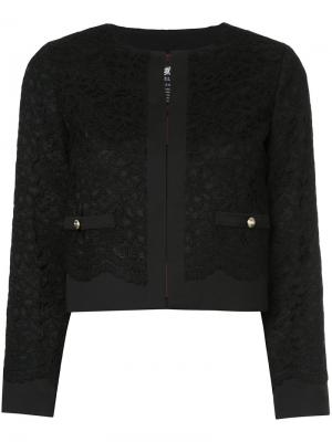 Укороченный пиджак с кружевной отделкой Loveless. Цвет: чёрный