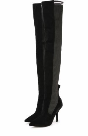 Кожаные ботфорты с вязаной отделкой на шпильке Fendi. Цвет: черный