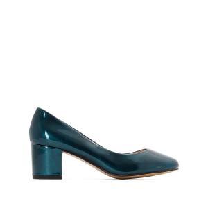 Балетки лакированные на среднем каблуке MADEMOISELLE R. Цвет: сине-зеленый,черный