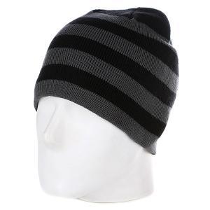 Шапка  2 Stripe Beanie Black/Elephant Urban Classics. Цвет: черный,серый