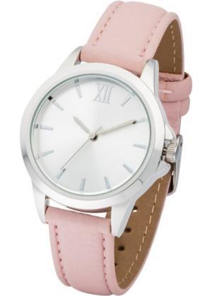 Часы на классическом браслете (розовый/серебристый) bonprix. Цвет: розовый/серебристый