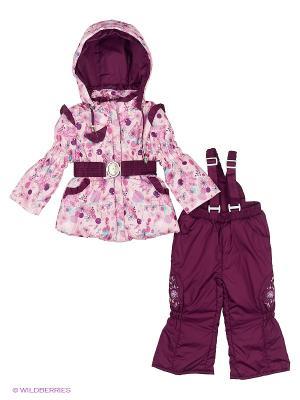 Комплект для девочки демисезонный /куртка, полукомбинезон/ Rusland. Цвет: розовый