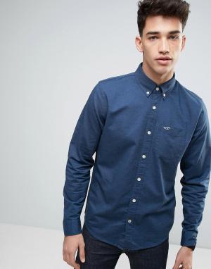 Hollister Темно-синяя оксфордская рубашка слим. Цвет: темно-синий